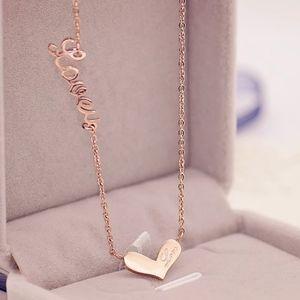 Rose Gold Color Elegant LOVEU Heart Pendant Neckla
